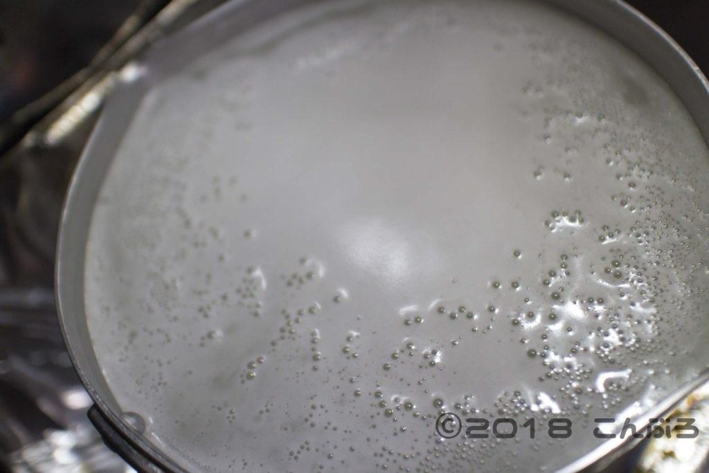 雪平鍋のメンテナンスに米のとぎ汁