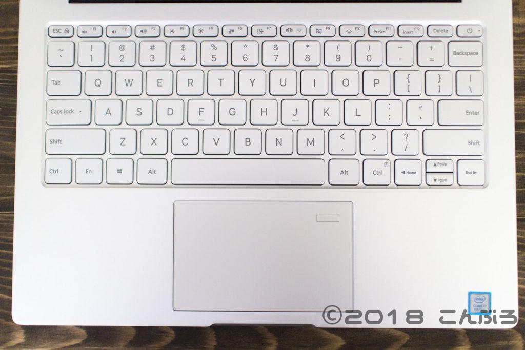Xiaomi Mi Notebook Airのキーボード